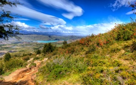 Обои простор, облака, трава, небо, солнце, озеро, кусты