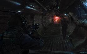 Обои трубы, оружие, туннель, арт, солдаты, канализация