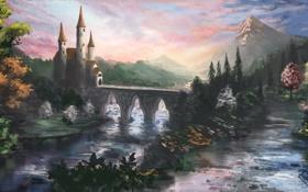 Обои дорога, деревья, пейзаж, цветы, горы, мост, замок