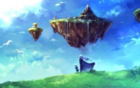 Картинка фантастика, семья, небо.водопад