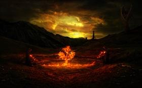 Обои небо, огонь, башни, Gothic, обряд, монахи