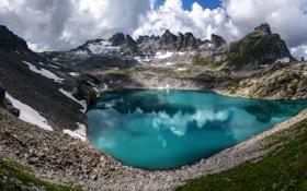 Обои небо, облака, горы, озеро, кратер
