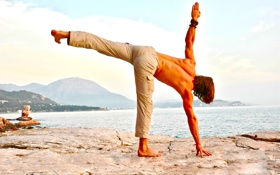 Обои men, yoga, pose, posture