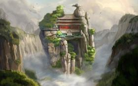 Обои пейзаж, скалы, высота, вид, храм, арт, горы