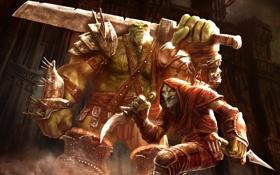 Обои замок, меч, зелёный, кинжал, броня, Орк, Гоблин