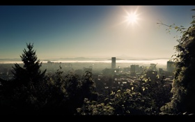 Обои солнце, лучи, свет, города, пейзажи, дома, утро