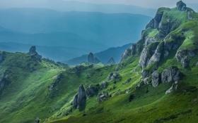 Обои горы, скалы, трава, дымка, небо