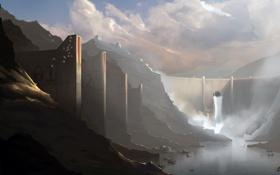 Обои вода, горы, плотина, дамба, art, dam