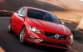 Картинка машина, Volvo, красная, вид спереди, S60, R-design