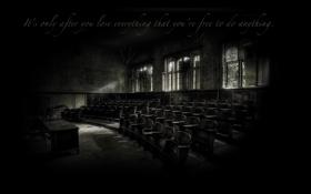 Обои стол, надпись, окна, стулья, аудитория, заброшенное