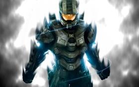 Картинка солдат, костюм, Halo, решимость