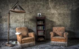 Обои книга, кресло, комната