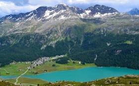 Обои облака, долина, поселок, дома, горы, небо, озеро