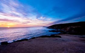 Обои закат, побережье, залив, California, Bodega Bay