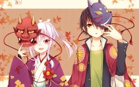 Обои листья, аниме, мальчик, арт, девочка, кимоно, маски
