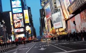 Картинка дорога, город, люди, дома, реклама, улица, огни
