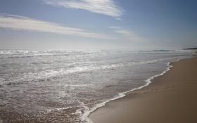 Обои облака, небо, пляж. берег, вода, волны, море, песок