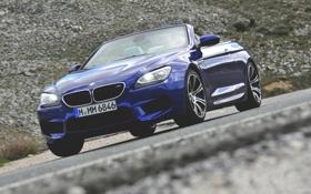 Обои Авто, Синий, BMW, Кабриолет, Капот, Фары, Передок