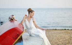 Картинка море, пляж, девушка, цветы, букет, girl, невеста