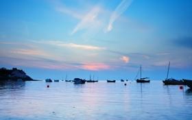Картинка море, рассвет, лодки, утро, залив