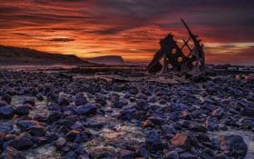 Картинка небо, ночь, камни, корабль