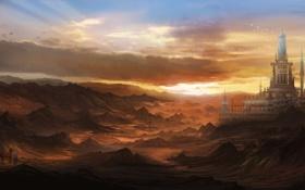 Картинка город, скалы, конь, арт, пустошь, путник