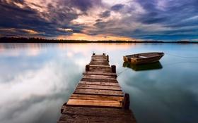 Картинка небо, облака, закат, тучи, озеро, гладь, лодка