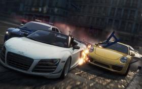 Картинка Aston Martin, гонка, полиция, погоня, разрушения, Porsche, Audi r8