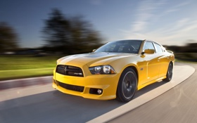 Картинка дорога, солнце, желтый, скорость, Dodge, Charger