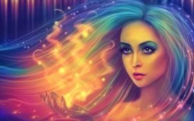 Обои взгляд, девушка, лицо, пламя, магия, волосы, огоньки