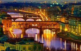 Картинка ночь, мост, огни, река, дома, Италия, Флоренция