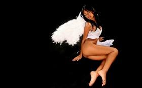 Картинка ангел, чёрный фон, Karla Spice