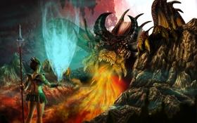 Обои свечение, дракон, evrenin, there you are, пламя