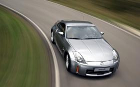 Обои Дорога, Машина, Серый, Ниссан, Движение, Машины, Nissan