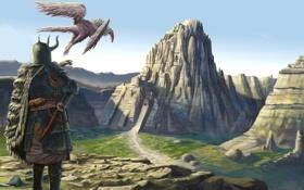 Картинка существо, рога, птица, скалы, доспех, человек, город