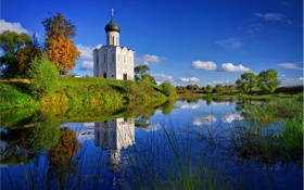 Картинка трава, вода, река, церковь, храм, покрова на нерли, pokrova na nerli