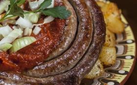 Картинка лук, картофель, соус, аппетитно, домашняя колбаса