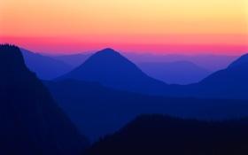 Обои закат, лес, обои, небо, зарево, горы, вечер