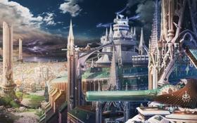 Картинка тучи, город, фантастика, молнии, здания, буря, пушка