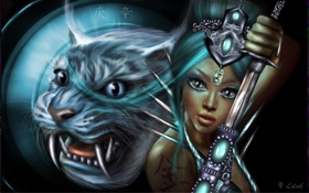 Картинка девушка, украшения, оружие, фантастика, животное, воин, тату