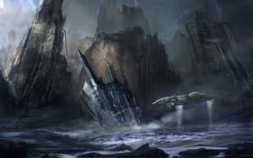 Картинка море, шторм, молнии, арт, космический корабль, cloudminedesign