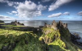 Обои ireland, dunluce castle, coast, medieval, rock, atlantic ocean