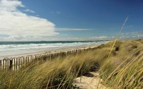 Картинка пейзаж, небо, забор, море, дюны