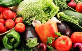 Обои зелень, яблоки, лук, баклажаны, перец, фрукты, овощи