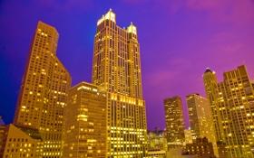 Обои США, ночь, небоскребы, ночной город, Чикаго