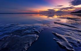 Картинка море, небо, облака, закат, скалы, вечер, отлив