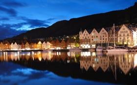 Картинка ночь, огни, отражение, дома, яхты, Норвегия, Берген