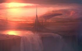 Обои корабль, здания, планета, водопад, арт