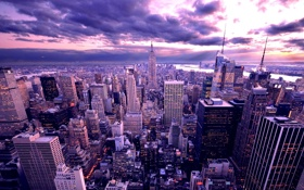 Обои облака, город, высота, дома, небоскребы, америка, сумерки