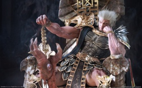 Обои глаз, мужик, меч, трон, soulcalibur